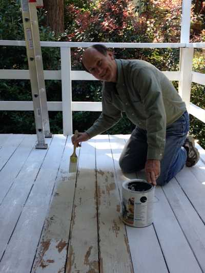 Priming the deck.