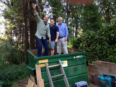 Dumpster diving with new son-in-law Jim and Toby.